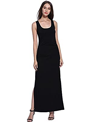 MsBasic Women's Scoop Neck Sleeveless Casual Long Maxi Tank Dress