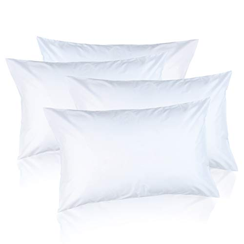 Queen Size Bed Pillows for Sleeping Hotel Standard Pillows for Side Back & Stomach Sleepers, Comfort Sleep with Hypoallergenic Down Alternative Microfiber Soft Plush Washable Pillow, 4 Pack
