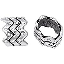 Zigzag Antique Silver-Plated Leather Cord Slider Beads With Clear Preciosa Czech Crystal 10.6x12.7mm pack of 2pcs