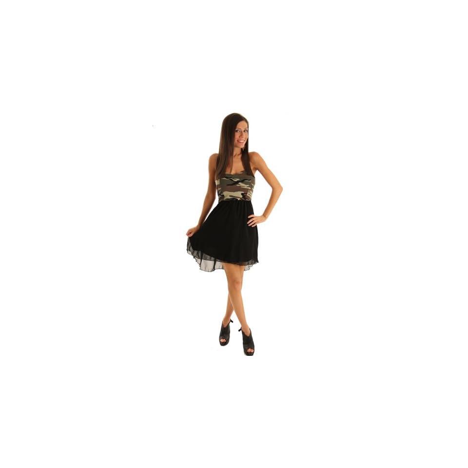 DHStyles Women's Sexy Camo Chiffon High Low Dress Large   Black, Green