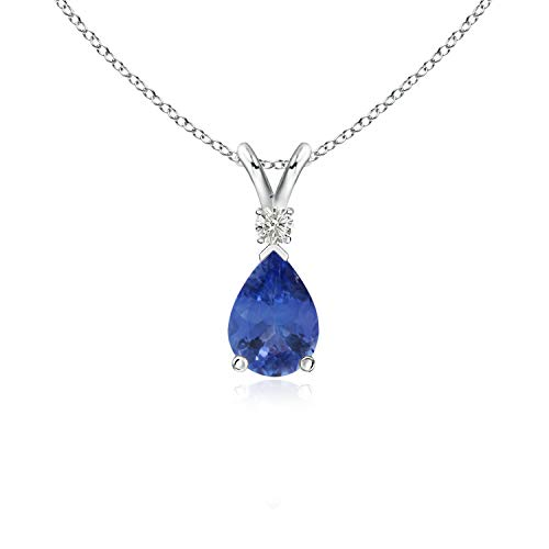 7x5mm Pear Tanzanite and Moissanite Silver V-bale Pendant in Sterling Silver