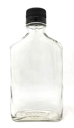 200 ml (6.6 oz) Glass Flask Liquor Bottle with Black Caps (12 Pack)
