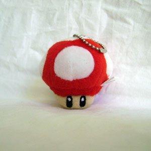 Super Mario Bro. RED Mushroom Plush Keychain ()
