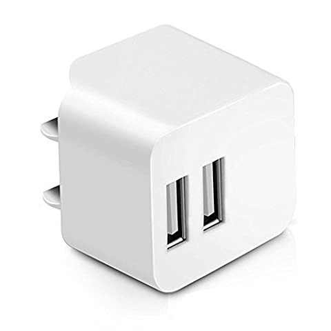 AMEMO 12W 2.4A Dual USB Port Wall Charger Adapter with Foldable Plug for Smartphones, White (Smartphone Wall Plug)