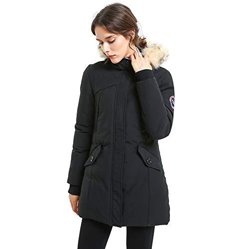 PUREMSX Women's Winter Jacket, Slim Ladies Mid Length Warm Overcoat Thick Warm Down Alternative Lined Insulated Ski Anorak Coat Upper East Side Jacket Women,Black,Medium ()