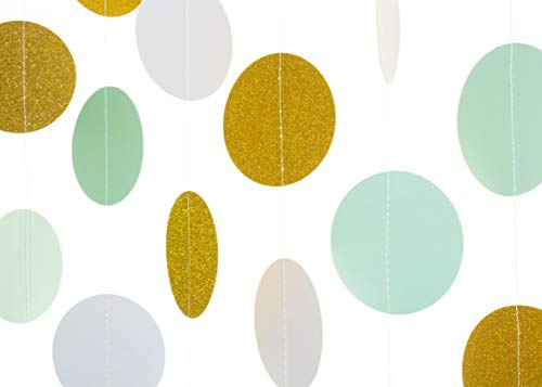 Modern By Design,10 Pack, 6.5 ft (2m) Circle Paper Garland, 3 inch (8cm) diameter, 65 ft Total, Hanging Decor for Weddings, Baby Showers, Birthdays, Christmas (Mint Green, White, Gold Glitter) -