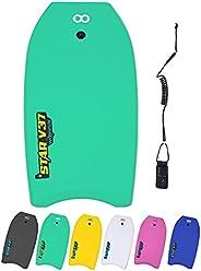WOOWAVE Bodyboard 33-inch/37-inch/42-inch Premium EVA Body Board with Coiled Wrist Leash,Super Lightweight EPS