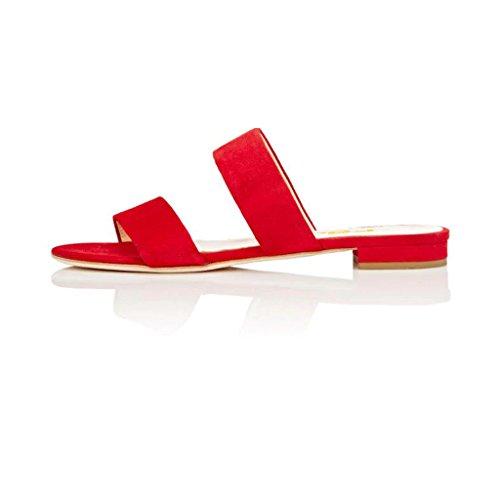 Fsj Femmes Double Bretelles Glisser Sur Mules Sandales À Talons Bas Ouvert Toe Glisser Chaussures Plates Taille 4-15 Us Rouge