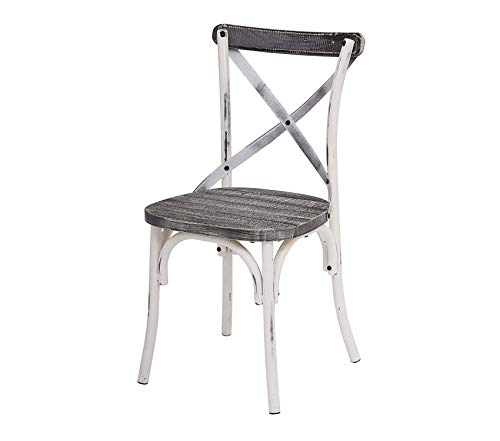 Оsp Dеsigns Somerset X-Back Antique White Metal Chair with Hardwood Vintage Crazy Horse Seat Finish