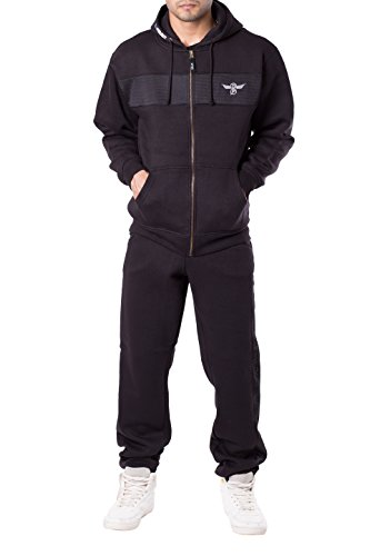 Mens Fleece Warm Sports Jogging Tracksuit Top & Bottoms Set