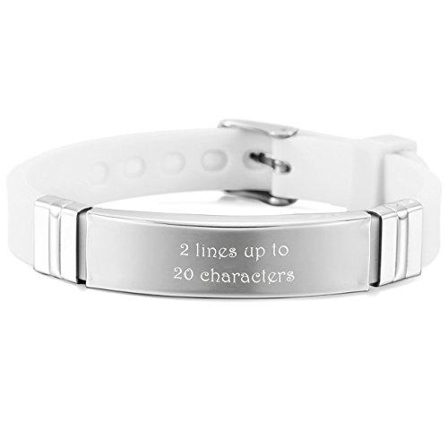 MeMeDIY Stainless Steel Rubber Bracelet Bangle Adjustable - Customized Engraving