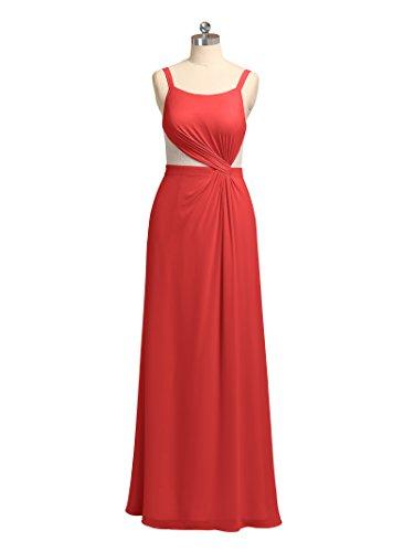 Dress Party Straps Chiffon Dresses Long Red Formal Alicepub Evening Bridesmaid Maxi wzqHH6