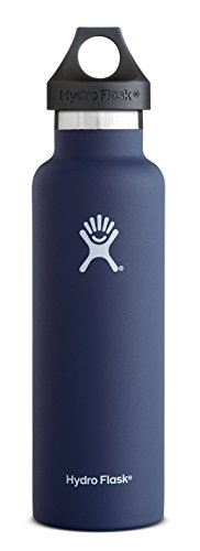 Hydro Flask 12 oz Vacuum Insulated Stainless Steel Water Bottle, Standard Mouth w/Loop Cap, Cobalt