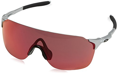Oakley Men's Evzero Stride Non-Polarized Iridium Rectangular Sunglasses, Silver, 38 mm