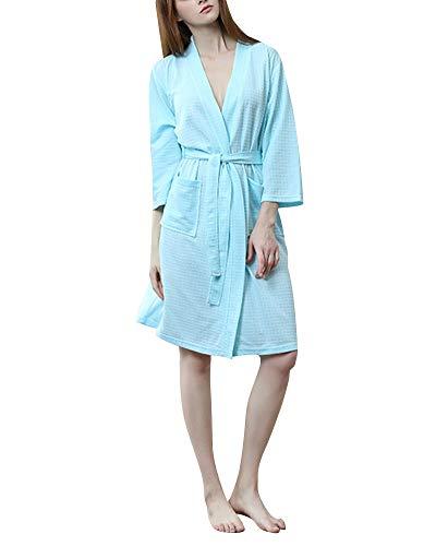 Corto Da Da Menta Donna Pigiama Con Waffle Notte Verde Scollo V Camicia Kimono Cialda A In Cintura Notte Xqq6IHA