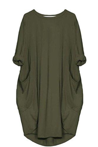 Coolred Femmes Mode Solide Vert Lâche Armée Robe De Cocktail Clubwear Ajustement De Base