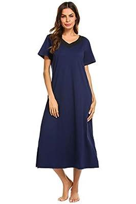 Ekouaer Long Nightgown, Womens V Neck Loungewear Oversized Sleepwear Loose Pockets Sleep Dress