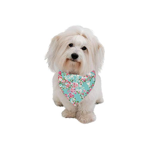 XINGCHENSS Pet Dog Cat Bandana Cherry Blossom Vintage Hand Drawn Fashion Printing Bibs Triangle Head Scarfs Kerchief Accessories for Large Dog Pet Birthday Party Easter Gifts