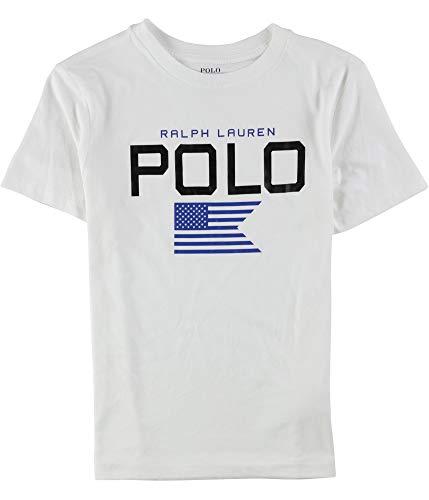 (Ralph Lauren Boys SS Graphic T-Shirt, White, S (8))