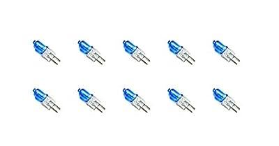 10 Pack AC DC 12V 10W Blue Lense Halogen Light Bulb G4 JC Spot Light Replacement Xenon Cool White