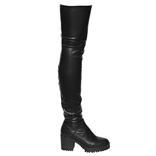 Besonon EJ05 Frauen Stretchy Snug Fit Plattform Oberschenkel Hohe Chunky Heel Stiefel Schwarz Pu