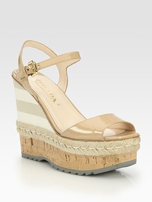 f362e8845fd6 Image Unavailable. Image not available for. Color  Women s Prada Patent Leather  Espadrille Wedge ...