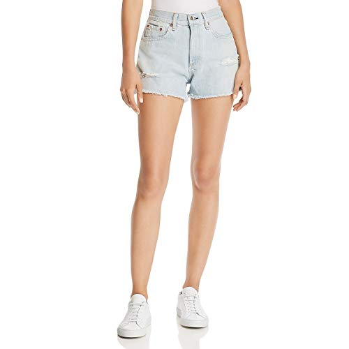 (Rag & Bone/JEAN Women's Justine High Rise Shorts, Glena with Holes, Blue, 25)