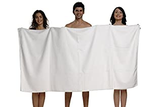 "THIRSTY 100% Non-GMO Turkish Cotton Bath Sheet, Extra Long 40""x80"", Towels, 670 GSM Weight. (40x80, White) (B004WO1L80) 