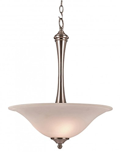 Trans Globe 70742 BN Venice - Three Light Pendant, Brushed Nickel Finish with White Frost Glass