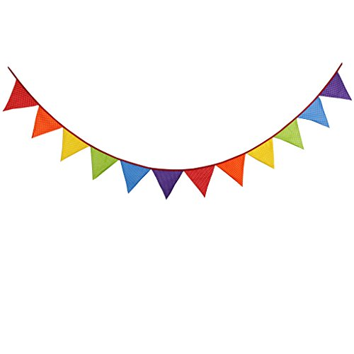 Multi Colored Fabric Bunting For Party Birthday Wedding Anniversary Celebration Baby Shower(Multi-colour) -