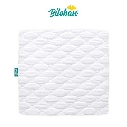 Playard Mattress Cover -for Square Play Yard, Perfect for New Room2 / TotBloc Portable Playard, Waterproof, Ultra Soft, Fitted Playpen Mattress Cover, White