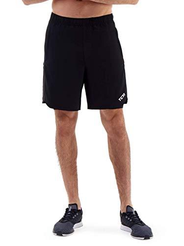TCA Men's Endurance 2 in 1 Running Shorts with Zip Pockets - Black, Medium ()