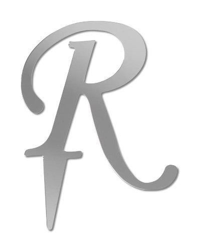 Darice VL3R Mirror Acrylic Initial Letter Cake Topper with Stake, Alphabet R, 3-Inch