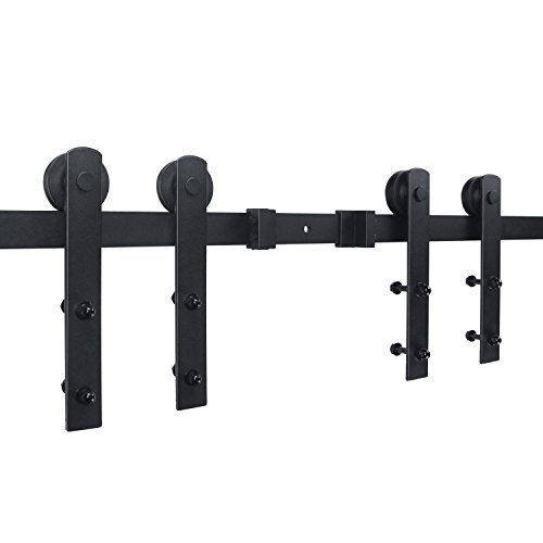 SMARTSTANDARD 12ft Double Door Sliding Barn Door Hardware (Black) (I Shape Hangers) (2 x6.0 foot Rail) by SMARTSTANDARD