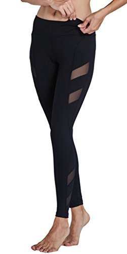 Komprexx Womens Yoga Pants Mesh Workout Leggings Pockets Exercise Fitness Gym Tights Activewear (17K-Black,S)