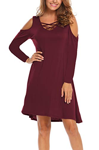 (BLUETIME Women Long Sleeve Cold Shoulder Cross Neck Simple Plain Swing Dress (M, Wine Red-Long)