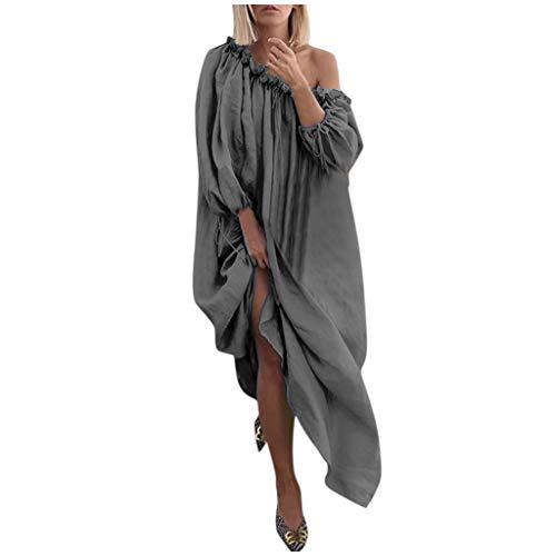 Kauneus Plus Size Dresses for Women Bohemian Round Neck/One Shoulder Stretch Loose Maxi Dress(Solid/Spliced Color/Print) from Kauneus Women Clothing