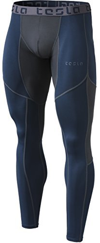 TSLA TM-MUP79-NVH_Medium Mens Mesh-Panel Compression Pants Baselayer Cool Dry Sports Tights Leggings MUP79