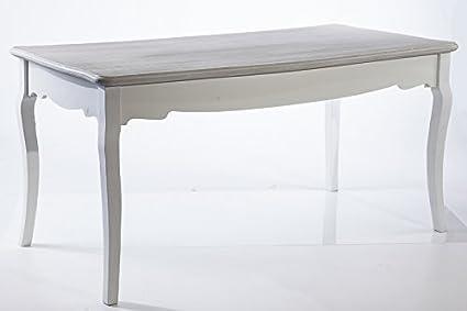 Tavolo Da Pranzo Shabby : Tavolo pranzo legno shabby chic bianco top grigio sbiancato cm