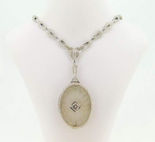 10k Oval Genuine Natural Crystal Quartz Necklace with Cast Chain (#J4090)