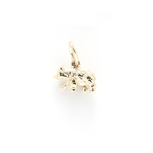 Black Bear Small Charm In 14k Yellow Gold, Charms for Bracelets and Necklaces