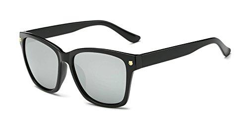 Wayfarer Sunglasses for Women Men 80s Square Black Frame Clear Reflective Lens (Silver, - Tinted Sunglasses Black
