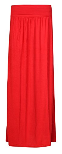 Fast Fashion Mujeres máxima de rock Plain plegados cintura Zigeuner estilo lleno de longitud máxima de rock Rojo
