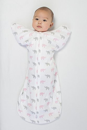 Large Product Image of Amazing Baby Swaddle Sack with Arms Up Mitten Cuffs, Tiny Elephants, Pink, Medium, 3-6 Months