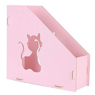 Wooden Desktop File Organizer Basket, Office/Home Supplies Portable Vertical Upright DIY Hollow Cat Storage Bins Crate Folder Holder