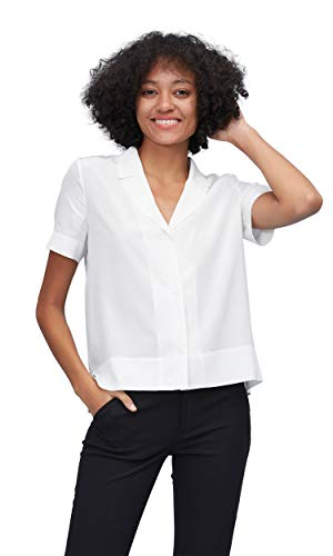 LilySilk Silk Shirts for Womens and Ladies Sexy V Neck Half-Sleeve Notch Button Front Casual Longer Back White S Charmeuse Short Sleeve Blouse