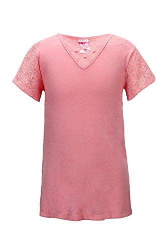 Crush Girls Solid Crisscross Lace Short Sleeve Top, Size, 10/12, Blush