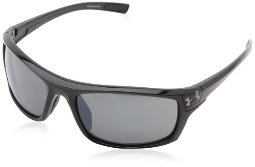 (Under Armour Keepz Shiny Black Frame, with Black Rubber and Gray Polarized Multiflection Lens)