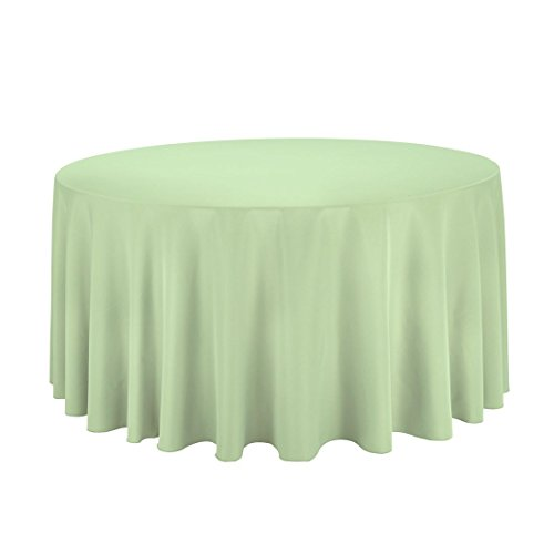LinenTablecloth Round Polyester Tablecloth, 120-Inch, Reseda