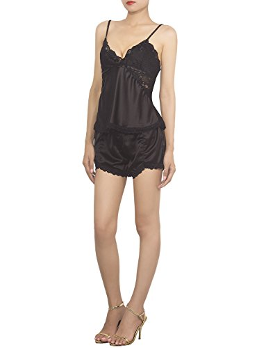 iB-iP Women'S Lace Cami Boyshorts Set Sleepwear Mid-Thigh Camisole Tank Lingerie, Size: S, Black (Style Lace Cami Set)
